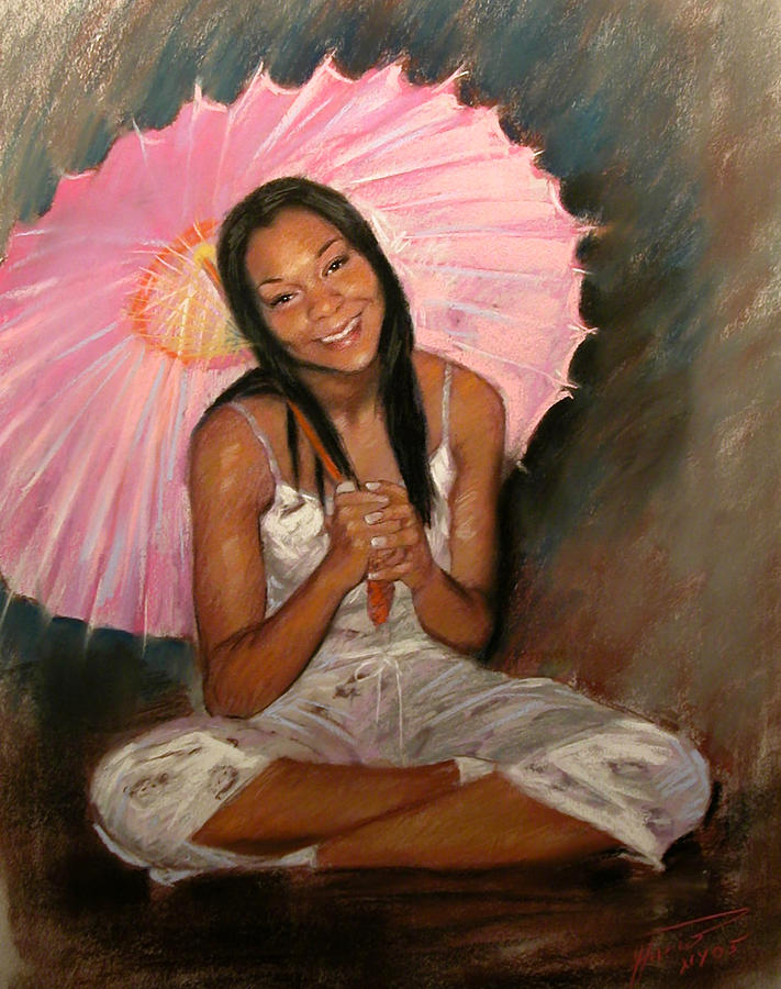 Girl With Umbrella Pastel - Pink And Brown by Ylli Haruni