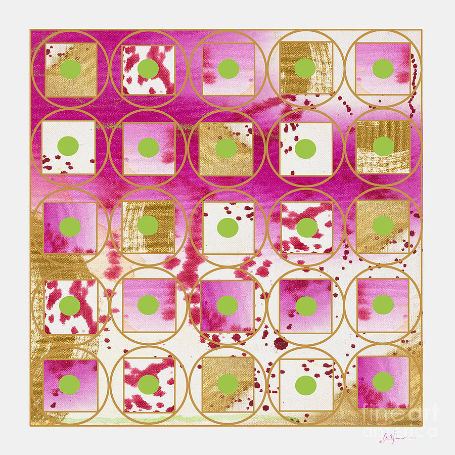 Pink And Gold Grid With Green Dot Digital Art By Pamela Johnson