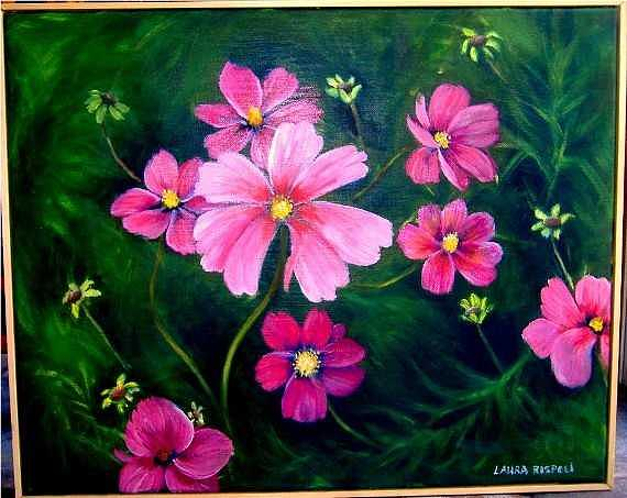 Pink Flowers Painting - Pink And Green Lovely by Laura Rispoli