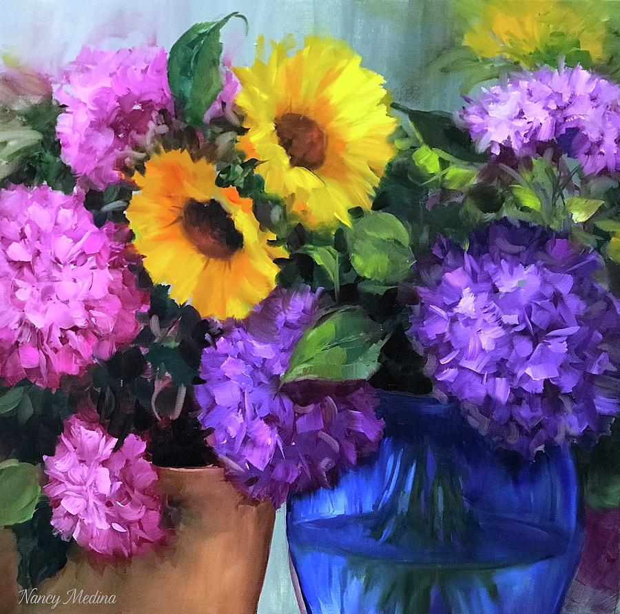 Hydrangeas Painting - Pink And Purple Hydrangea Garden by Nancy Medina