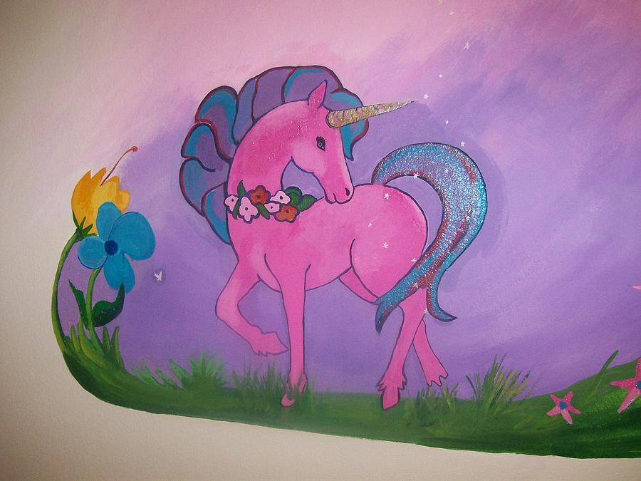 Pink And Purple Mural Painting by Kathleen Heese