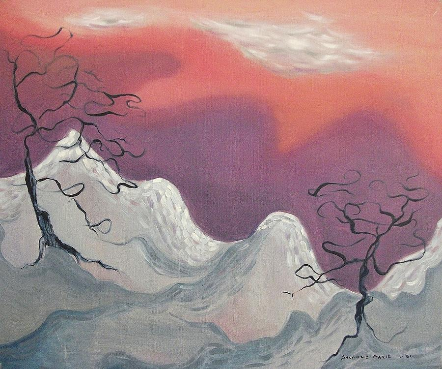 Snow Painting - Pink And Purple Sky by Suzanne  Marie Leclair