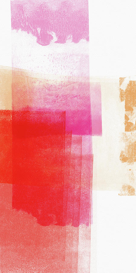 Pink Mixed Media - Pink And Red Minimal 2- Abstract Art By Linda Woods by Linda Woods