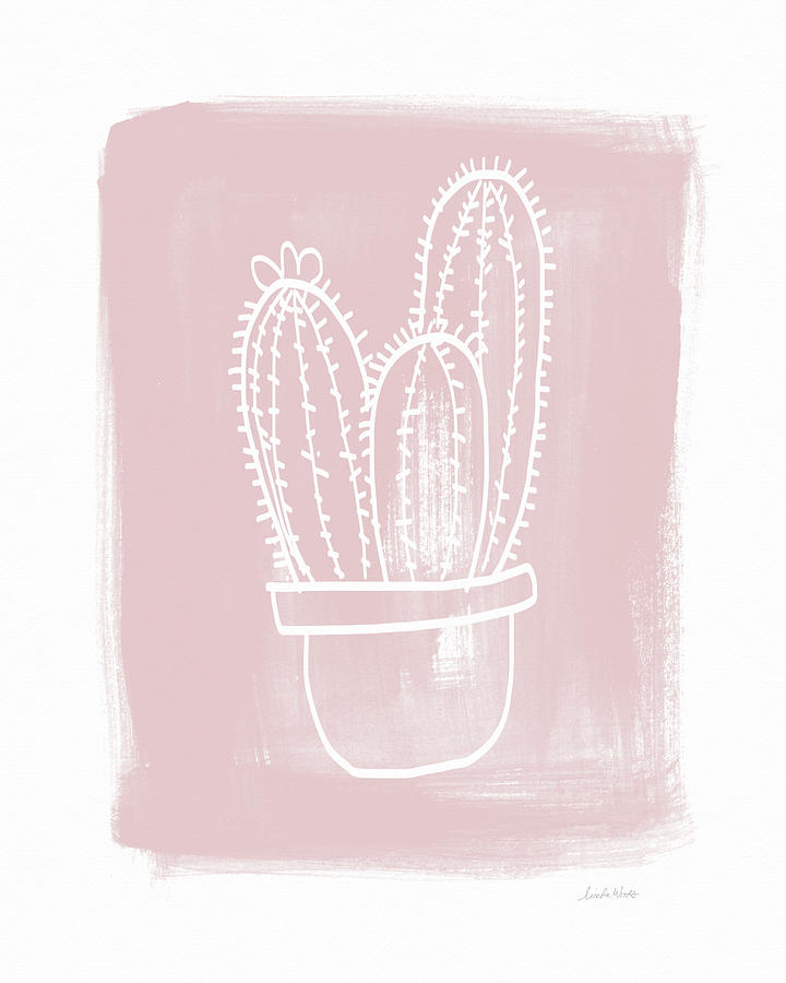 Cactus Painting - Pink And White Cactus- Art By Linda Woods by Linda Woods