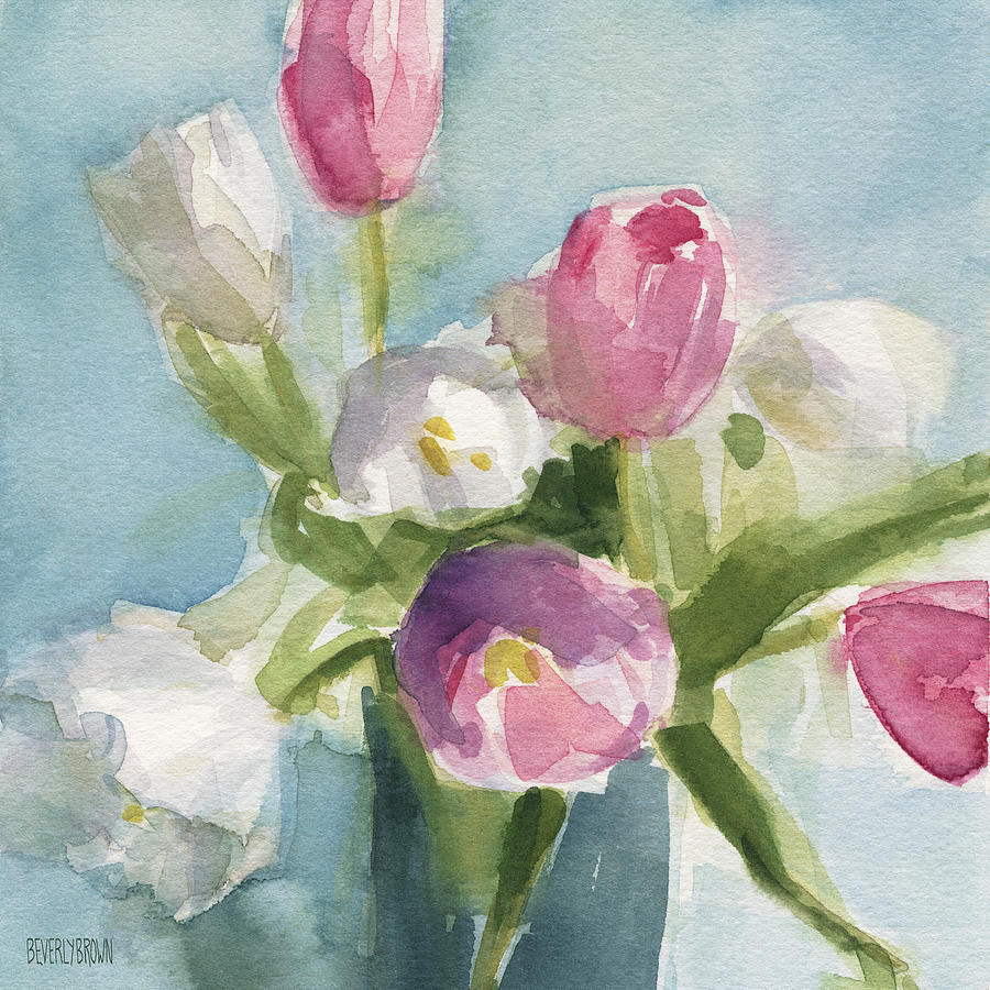f3db8e40210 Floral Painting - Pink And White Tulips by Beverly Brown
