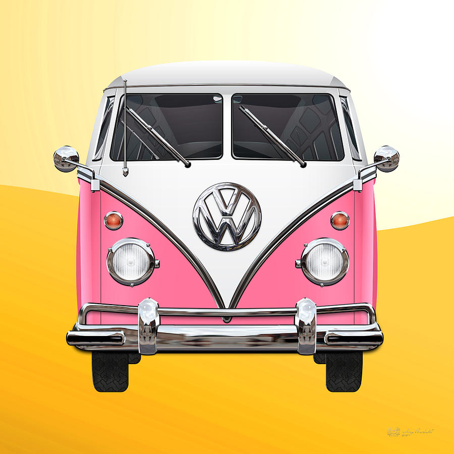 Car Photograph - Pink And White Volkswagen T 1 Samba Bus On Yellow by Serge Averbukh