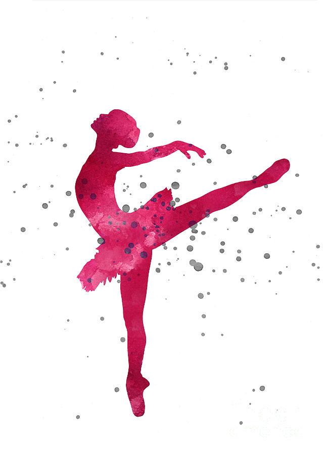 Pink Ballerina Nursery Art Print Painting By Joanna Szmerdt
