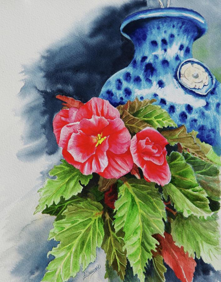 Flowers Painting - Pink Begonias by Lori Seward