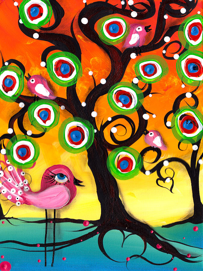 Whimsical Tree Painting - Pink Birds On A Tree by  Abril Andrade Griffith