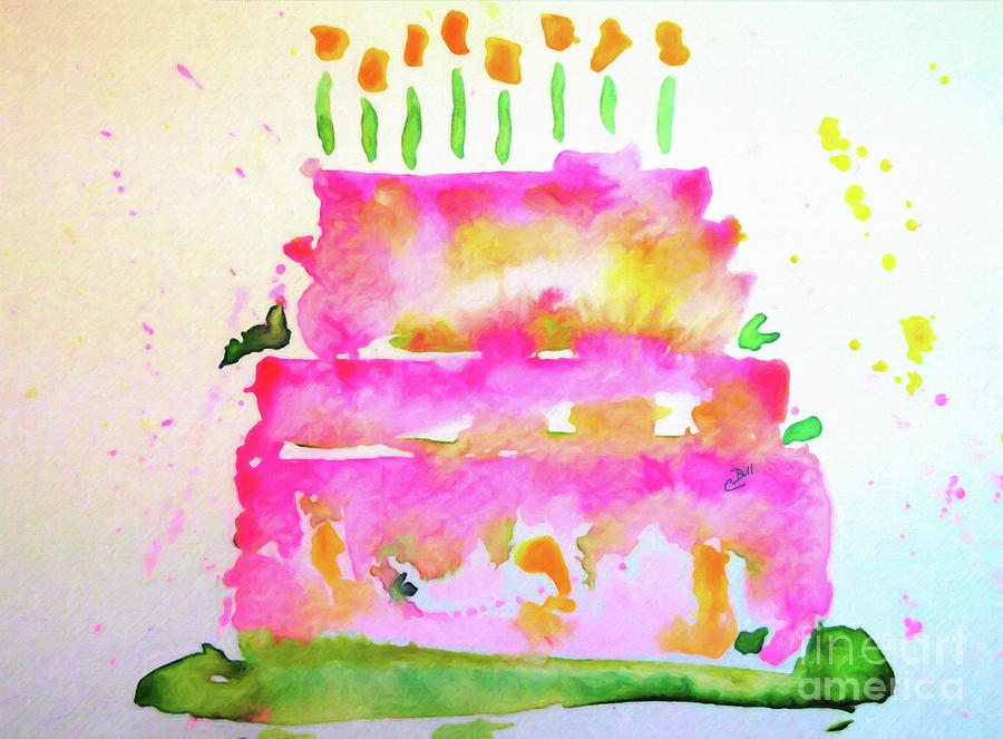Birthday Painting - Pink Birthday Cake by Claire Bull