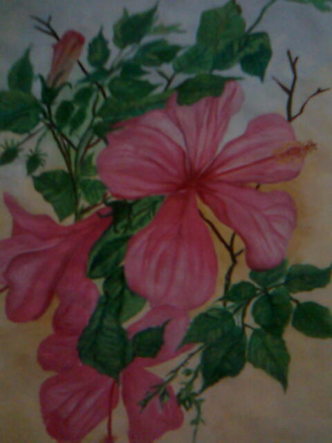 Hibiscus Painting - Pink Blooms by Seema Sharma