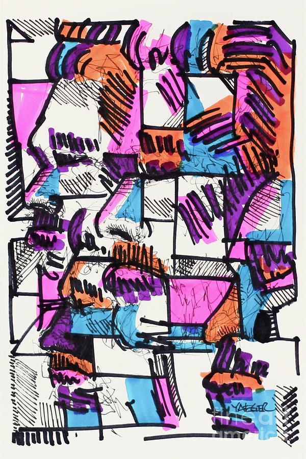 Pink Blue Orange Drawing