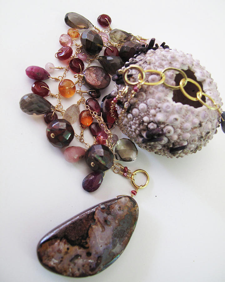 Opal Jewelry - Pink Boulder Opal And Mixed Gemstone Splash Necklace by Adove  Fine Jewelry
