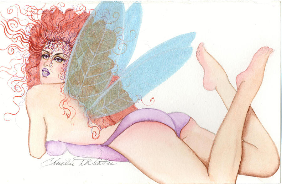 Fae Painting - Pink Butt Fairy by Christine Winters