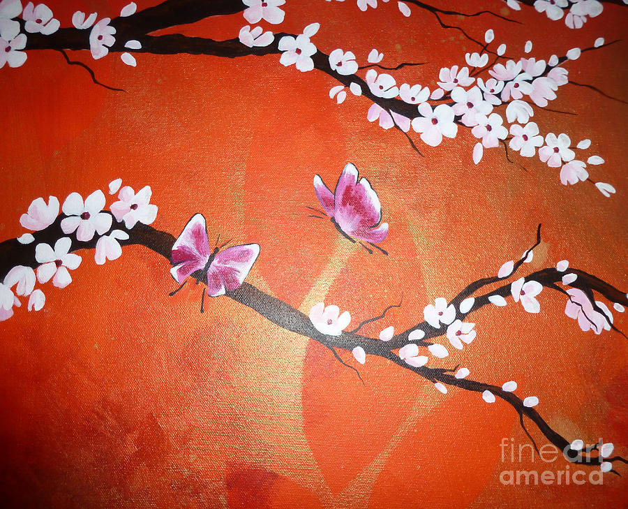 Pink Painting - Pink Butterflies And Cherry Blossom by Julia Underwood