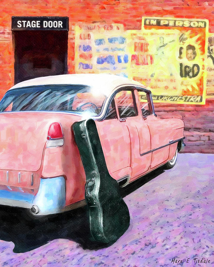 Elvis Digital Art - Pink Cadillac At The Stage Door by Mark Tisdale