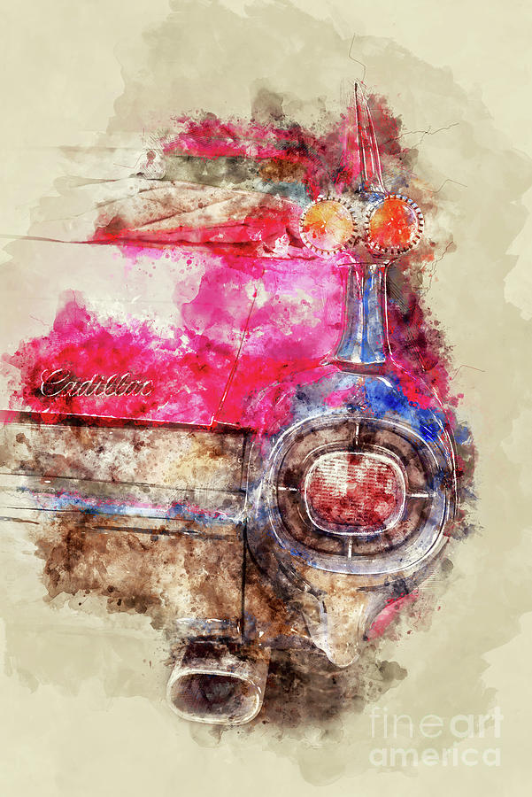 Cadillac Painting - Pink Cadillac - Back by Delphimages Photo Creations