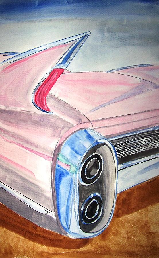 Pink Cadillac Painting by Donald Kanine