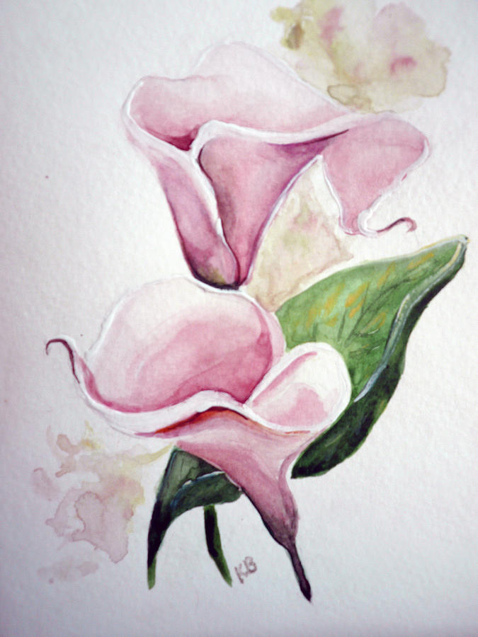 Pink Callas  Painting by Karin  Dawn Kelshall- Best