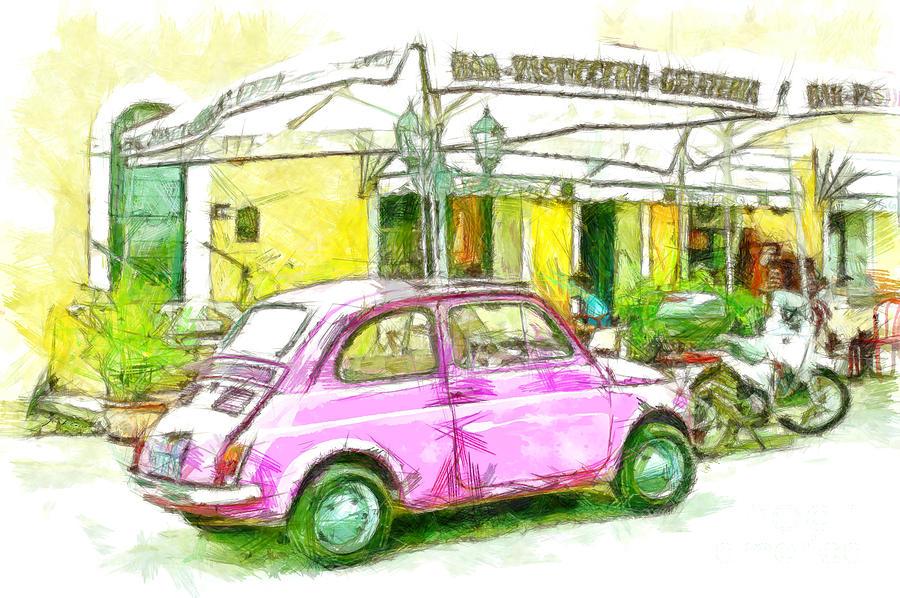 Pencil Digital Art - Pink Car by Giuseppe Cocco