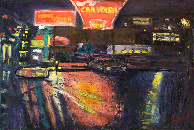 Landscape Painting - Pink Car Wash by Allen Forrest