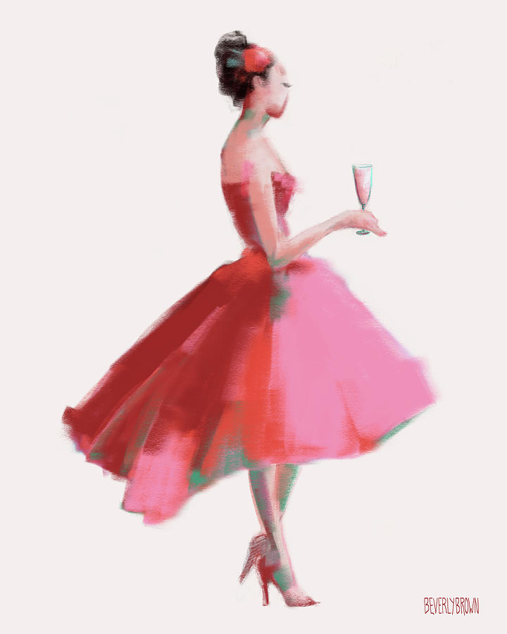 Pink Dress Painting - Pink Champagne Fashion Art by Beverly Brown