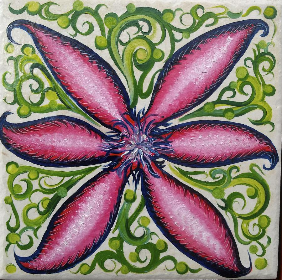 Stylized Painting - Pink Clematis Flower  by Karen Doyle