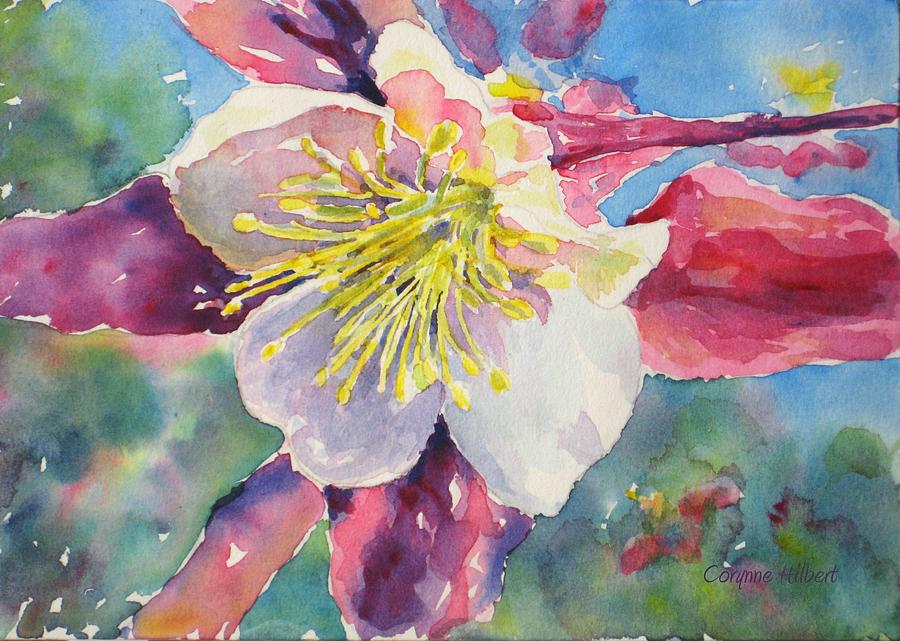 Pink Painting - Pink Columbine by Corynne Hilbert