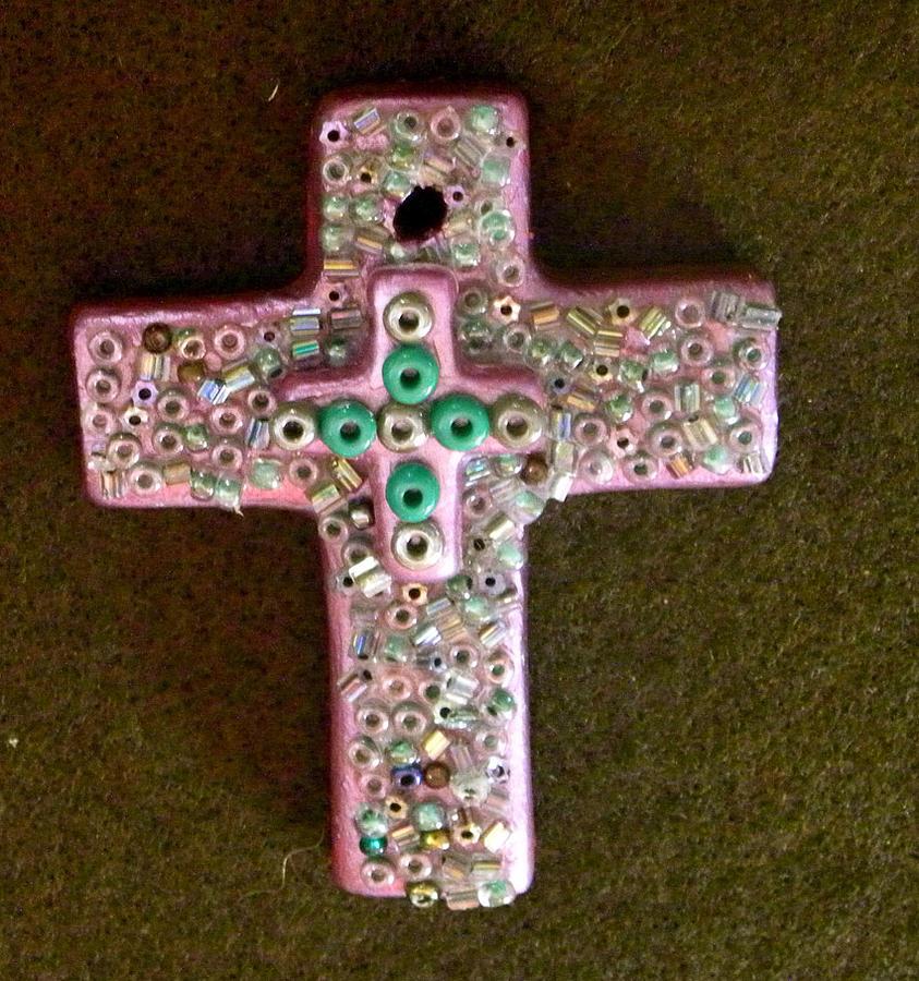 Cross Mixed Media - Pink Cross by Arlene Barrios