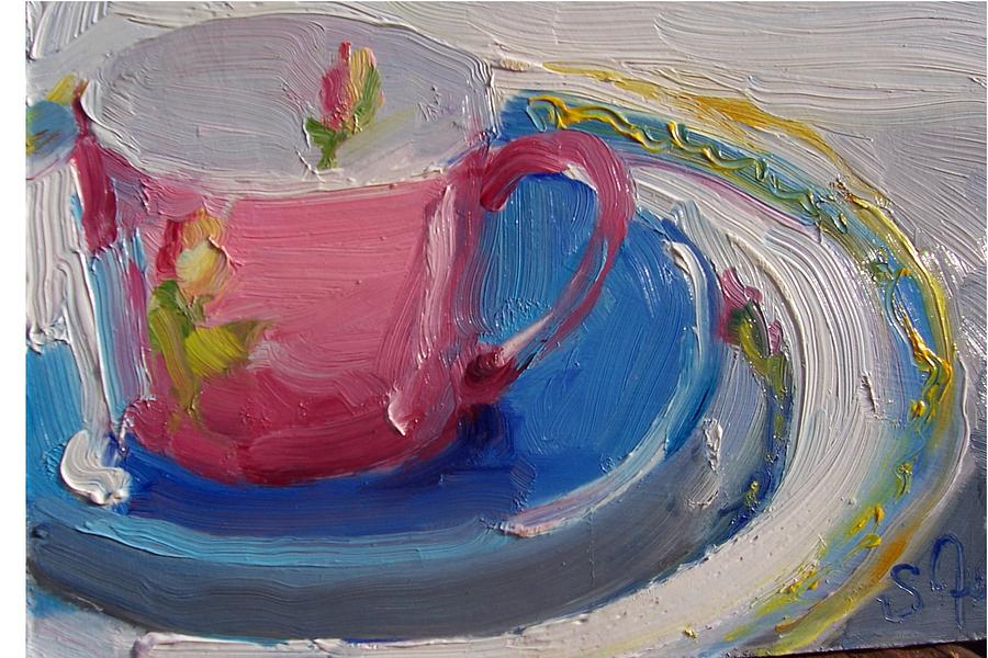 Still Life Painting - Pink Cup by Susan Jenkins