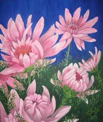 Pink Daisies Painting by Carine Badenhorst-Fourie