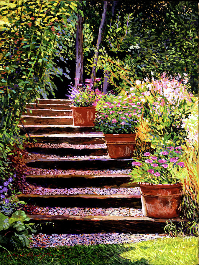 Gardens Painting - Pink Daisies Wooden Steps by David Lloyd Glover