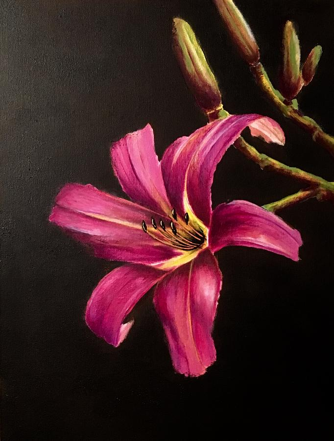 Pink Painting - Pink Daylily by Elizabeth Allen