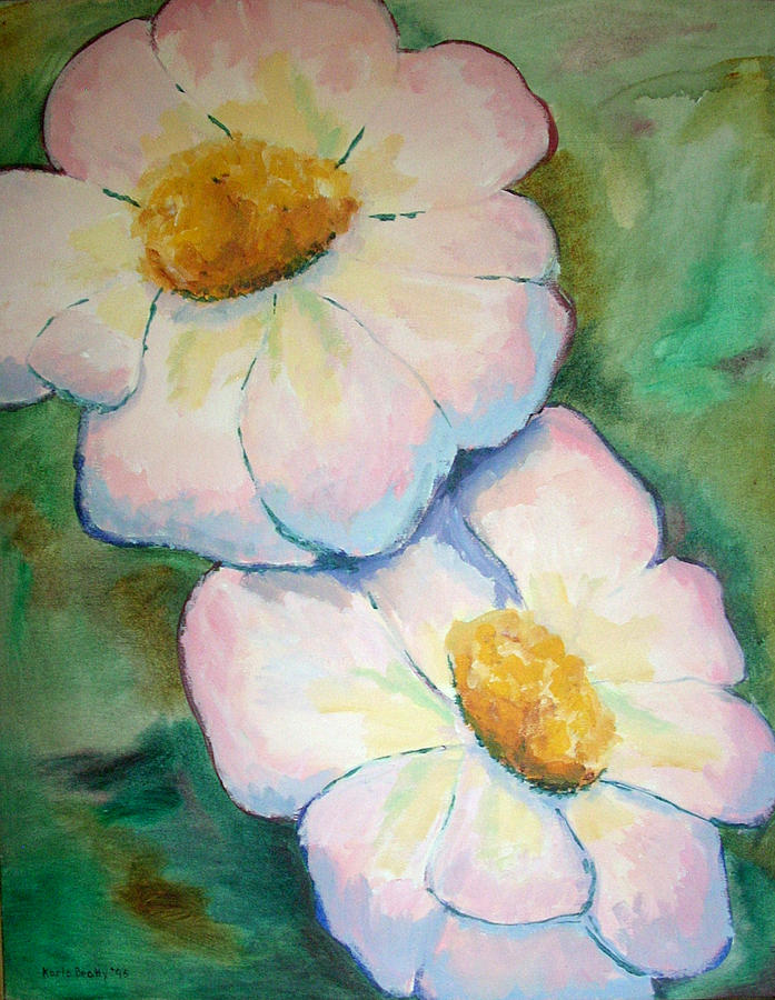 Acrylic Painting Painting - Pink Disc Flowers by Karla Beatty