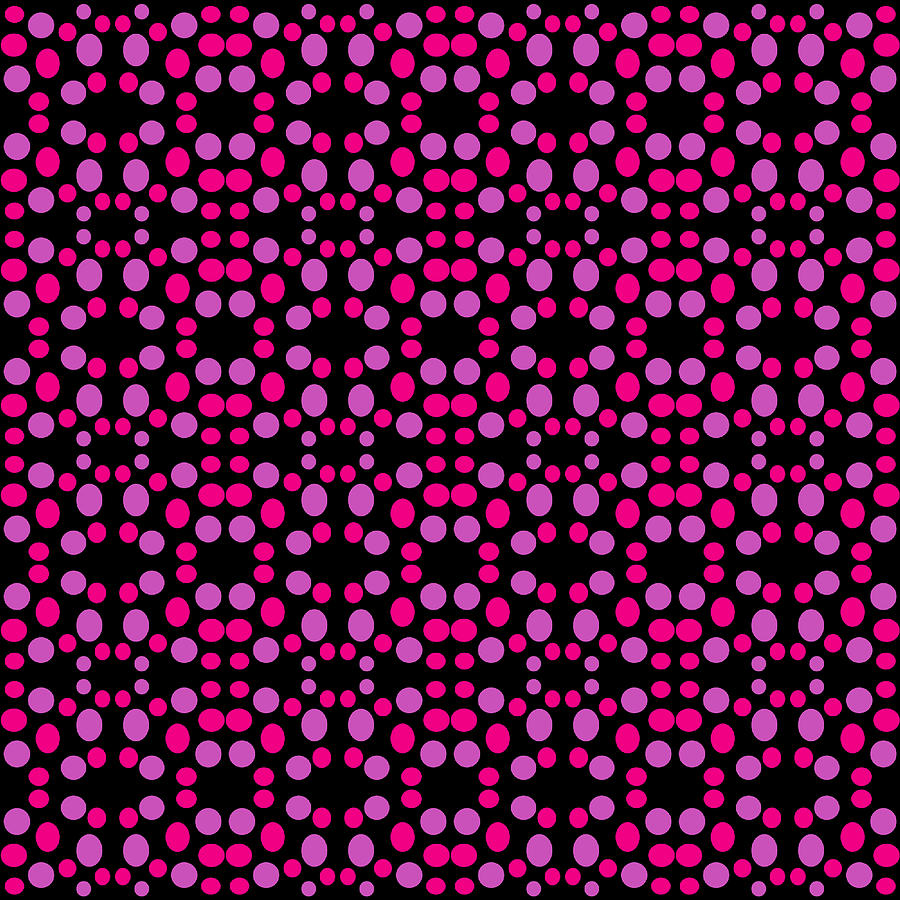 Pink Digital Art - Pink Dots Pattern On Black by BrightVibesDesign