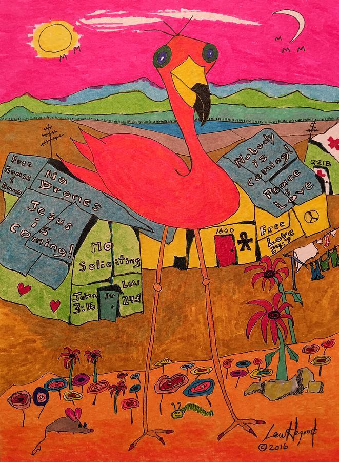 Pink Flamingo Camp by Lew Hagood