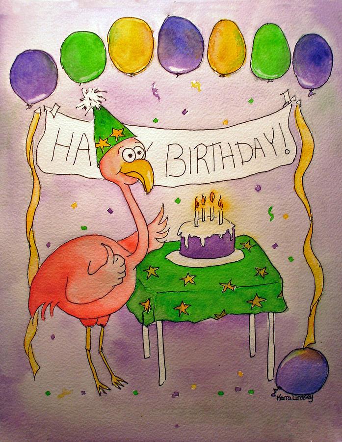Pink Painting - Pink Flamingo Happy Birthday Cake Watercolor by Kerra Lindsey