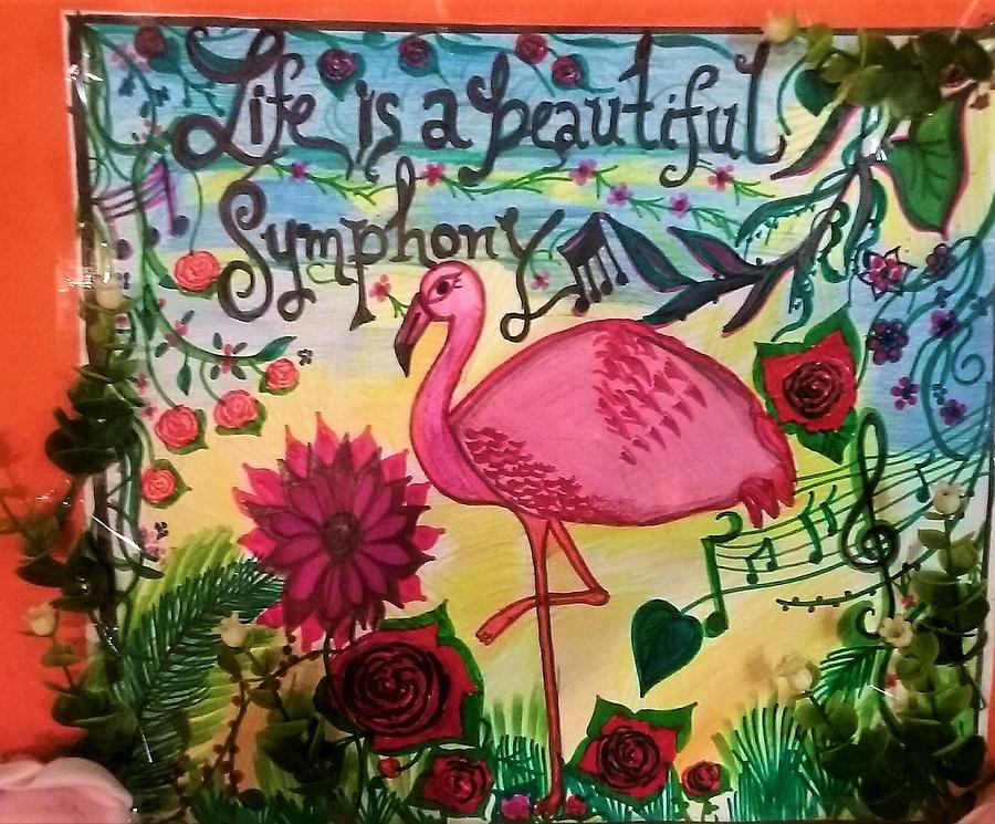 Pink Flamingo Drawing - Pink flamingo in nature by Lynette Fekete