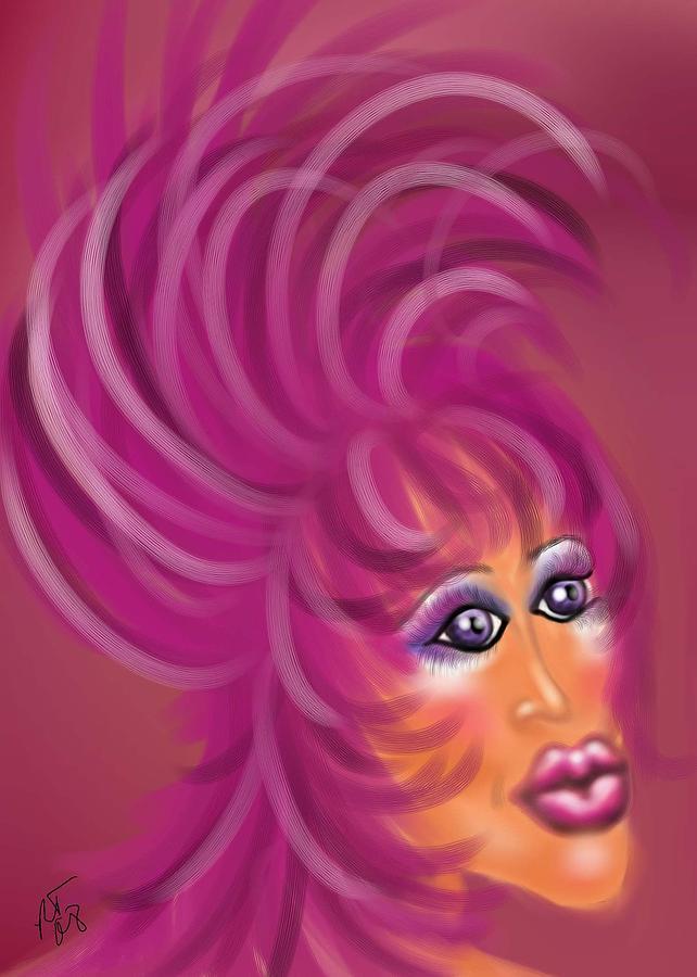Drag Queen Painting - Pink Flamingo by Ronald Terrel