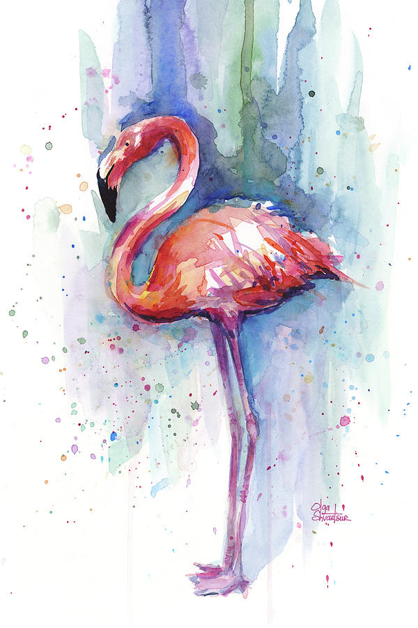 Watercolor Painting - Pink Flamingo Watercolor by Olga Shvartsur