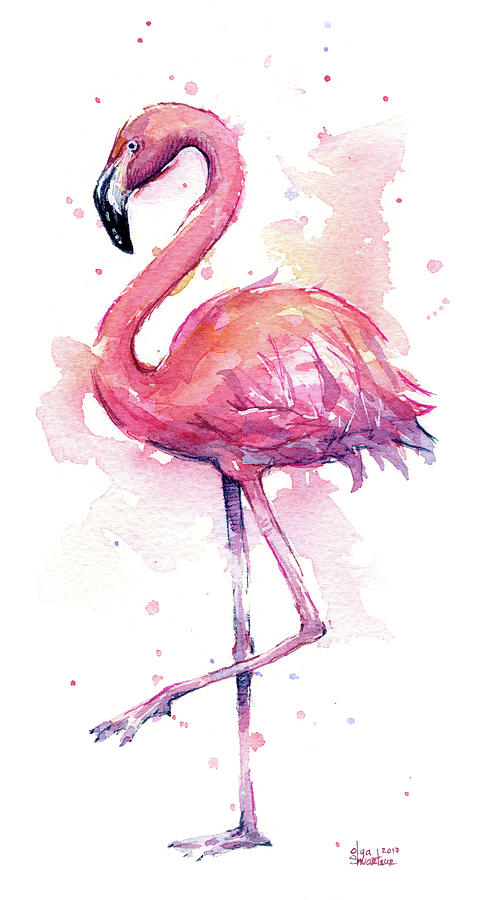 Flamingo Painting - Pink Flamingo Watercolor Tropical Bird by Olga Shvartsur