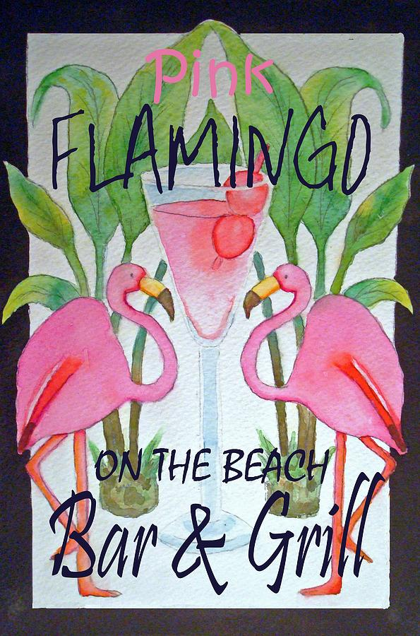 Pink Flamingo Painting - Pink Flamingos On The Beach Bar and Grill by Kerra Lindsey