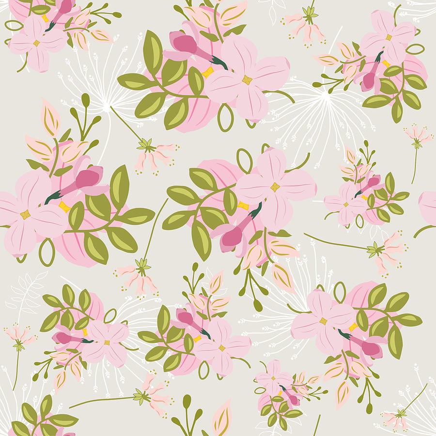 Pink Floral Pattern Pink Flowers Green Leaves Mint Green