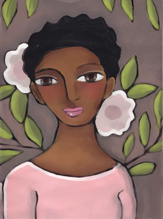 African American Painting - Pink Flower 2 by Elaine Jackson
