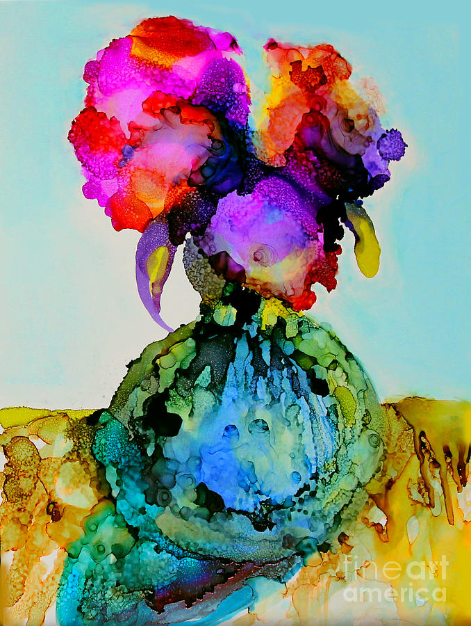 Flowers Painting - Pink Flowers In A Vase by Priti Lathia