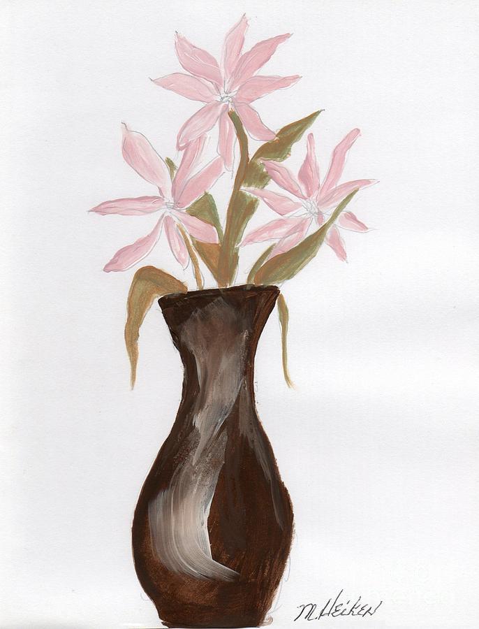 Flowers Painting - Pink Flowers In Brown Vase by Marsha Heiken