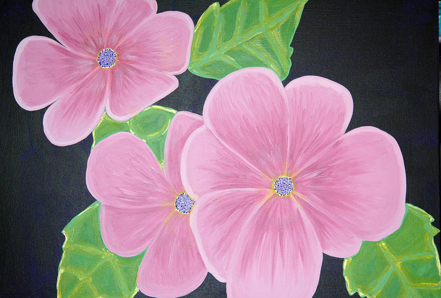 Pink flowers on black background painting by sarah england rocca nature painting pink flowers on black background by sarah england rocca mightylinksfo