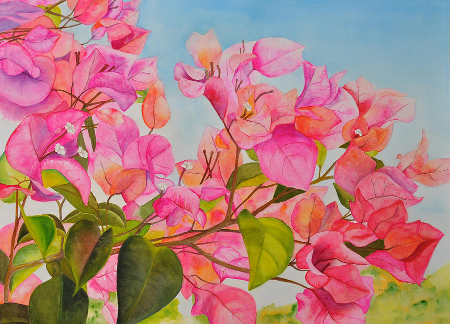 Pink Flowers Painting By Terry Arroyo Mulrooney