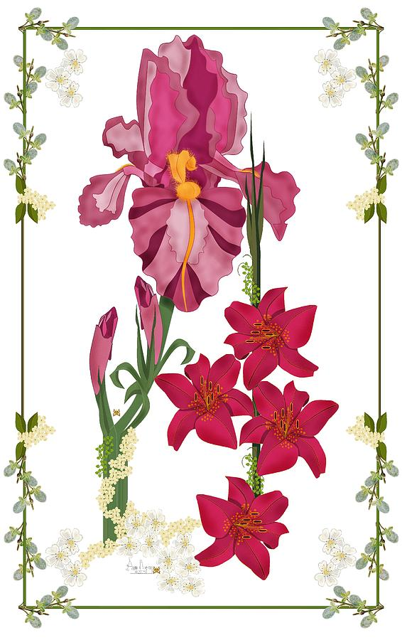 Pink Flowers Painting - Pink Flowers With Willow Borders by Anne Norskog