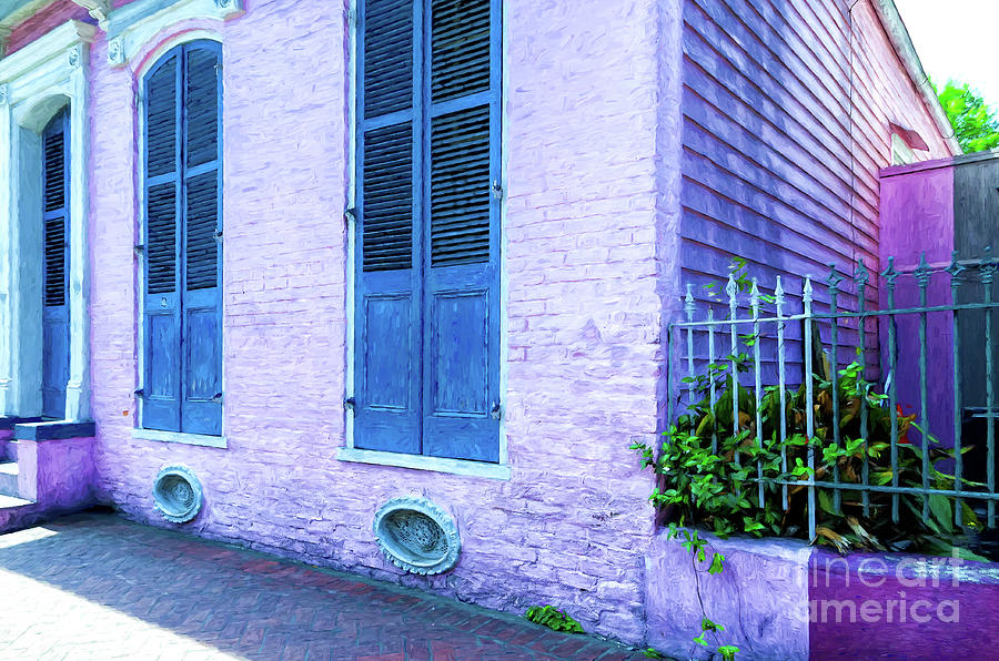 Pink French Quarter Cottage - Digital Painting Photograph